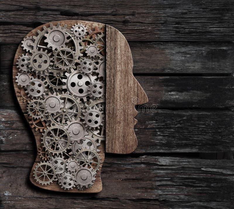 脑子作用、心理学、记忆或者精神活动概念3d例证 向量例证