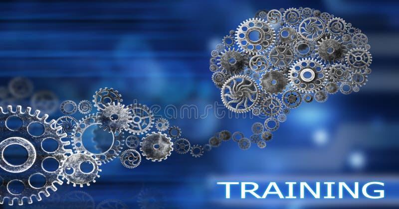 脑子修造出于嵌齿轮创新有想法和概念,训练,企业背景 库存例证