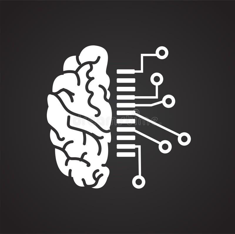 脑子关于黑背景的计划数据图表和网络设计的,现代简单的传染媒介标志 背景蓝色颜色概念互联网 时髦标志为 皇族释放例证