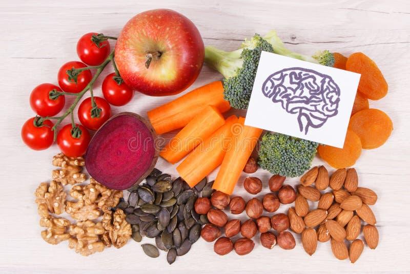 脑子和健康食物图画力量和好记忆的,滋补吃包含的自然矿物 图库摄影