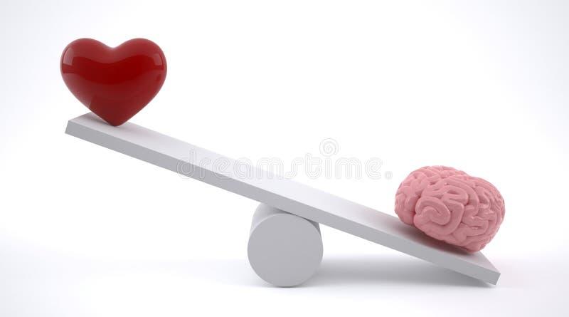 脑子和心脏在平衡等级 向量例证