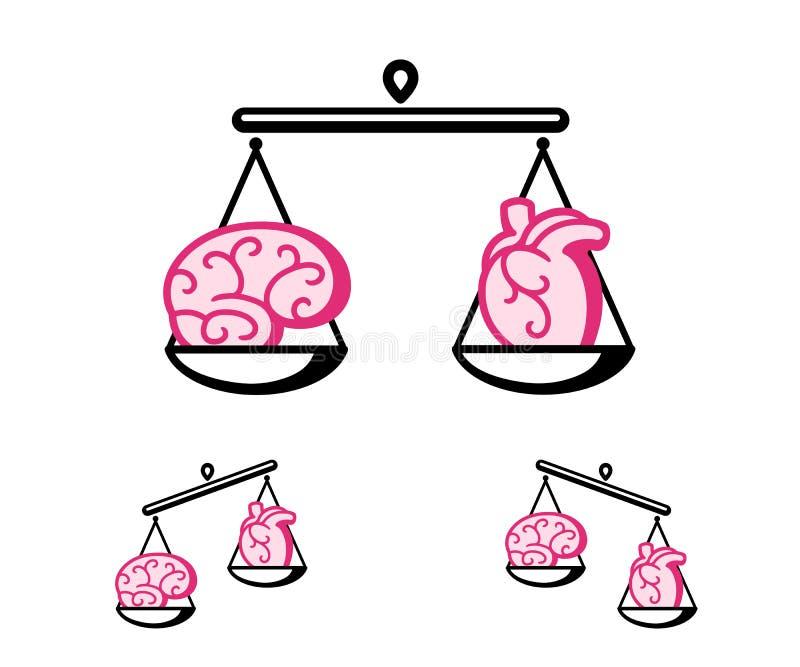 脑子和心脏在等级 皇族释放例证