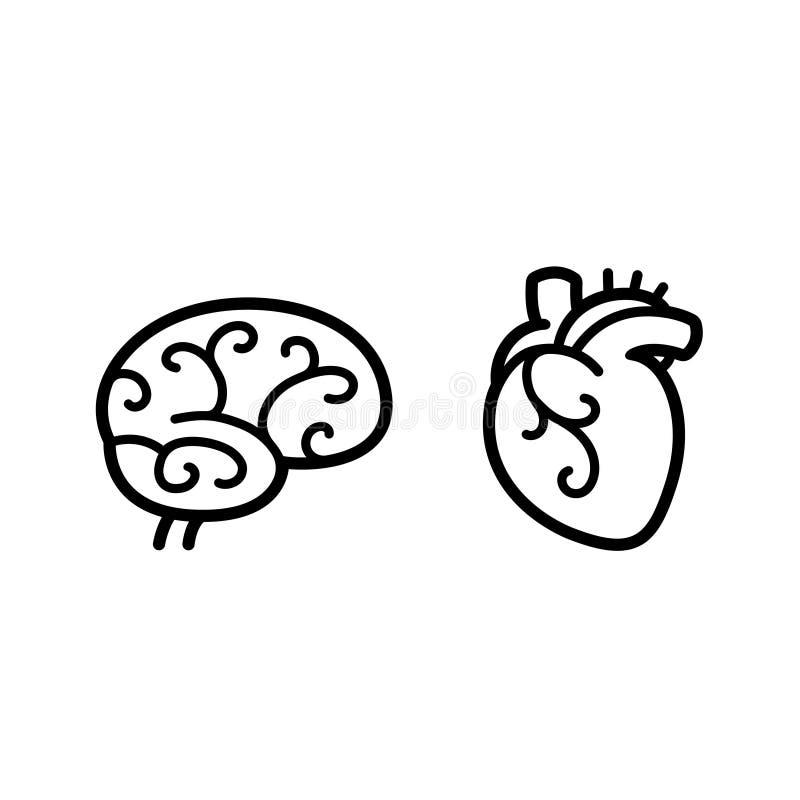 脑子和心脏象 库存例证
