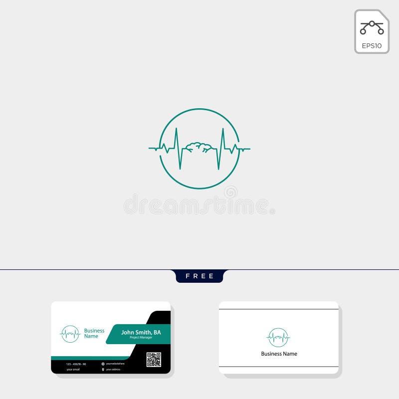 脑子和电波概念商标模板传染媒介例证,自由名片设计 向量例证