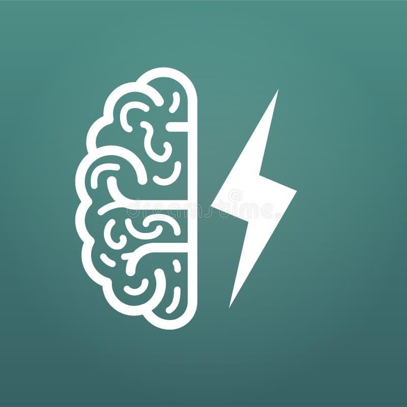 脑子和闪电,大想法象 在现代背景隔绝的传染媒介例证 向量例证