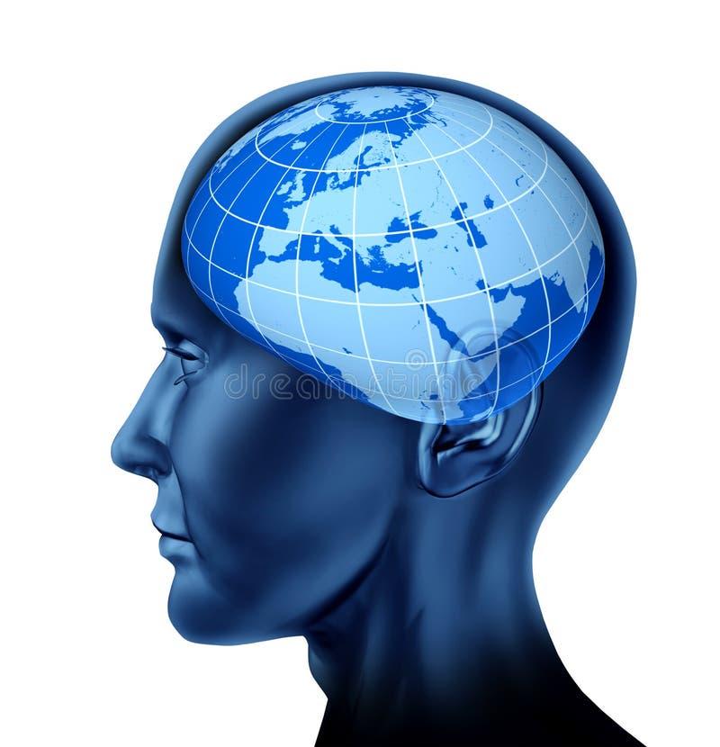 脑子商业经济学家欧洲顶头投资者人 库存例证