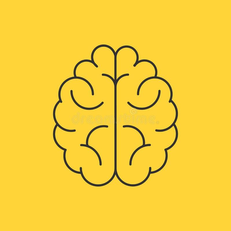脑子商标剪影设计传染媒介模板 认为想法概念 突发的灵感力量想法的脑子略写法象商标 向量例证