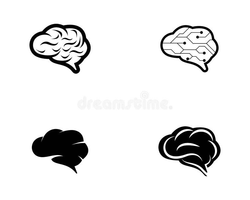 脑子商标模板传染媒介象 库存例证
