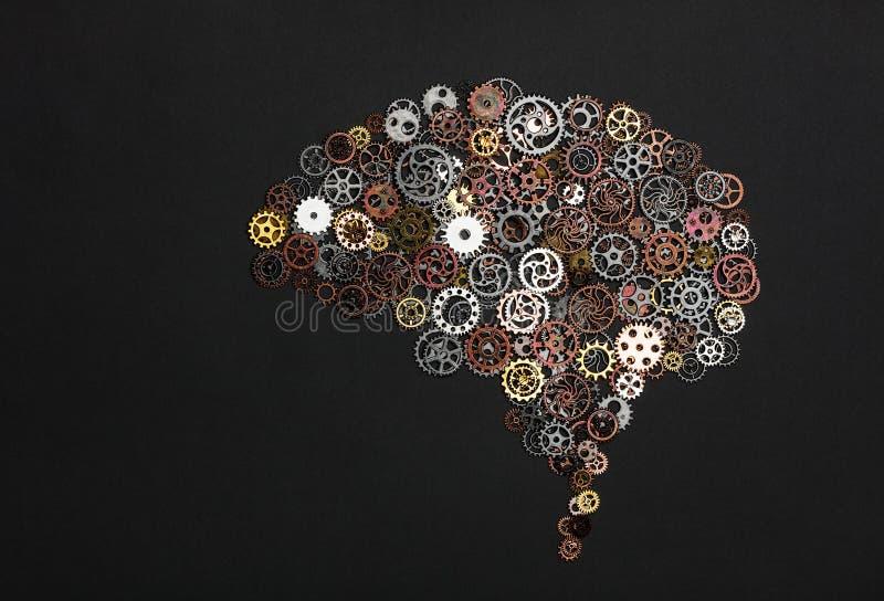 脑子图象由小的钝齿轮做成 免版税库存图片