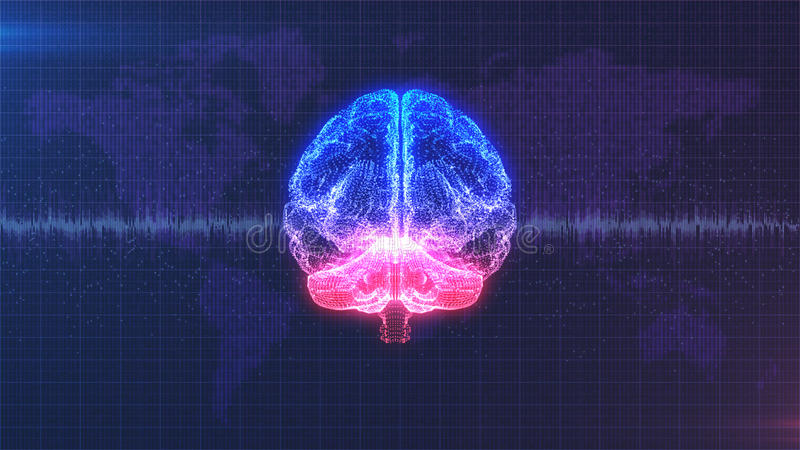 脑子图象-与脑波动画的数字式桃红色,紫色和蓝色脑子 向量例证