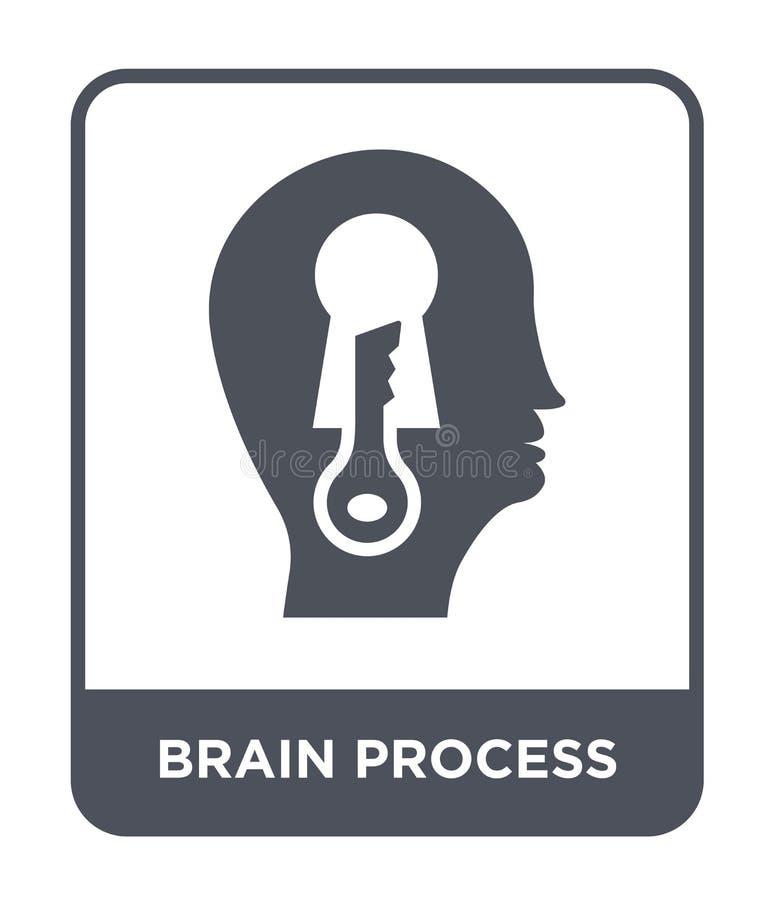 脑子在时髦设计样式的过程象 脑子在白色背景隔绝的过程象 脑子过程简单传染媒介的象和 库存例证