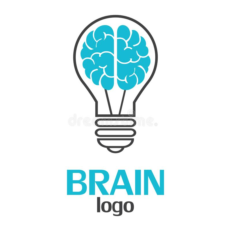 脑子在白色背景的商标模板 传染媒介以图例解释者EPS10 向量例证