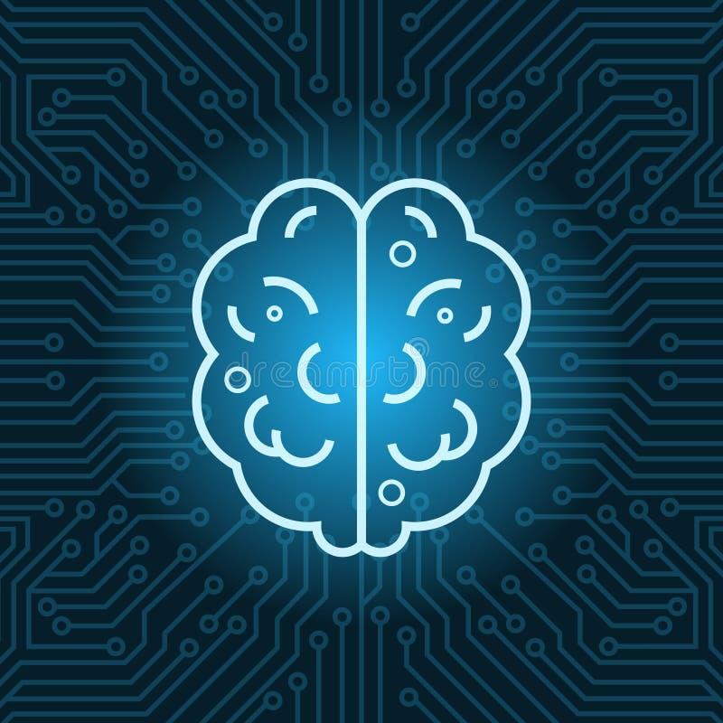 脑子在蓝色电路主板背景顶视图的形状象 向量例证