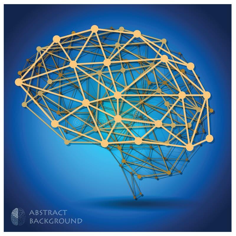 脑子形状摘要几何背景 库存例证