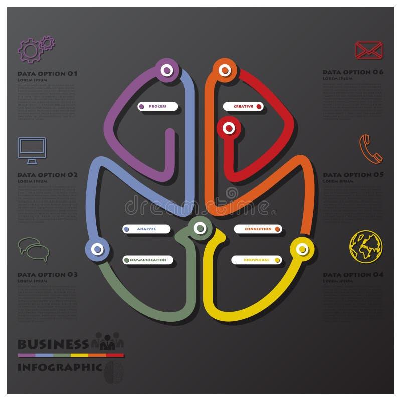 脑子形状连接时间安排事务Infographic 向量例证