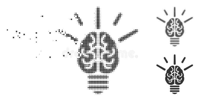 脑子想法电灯泡被分解的映象点中间影调象 库存例证