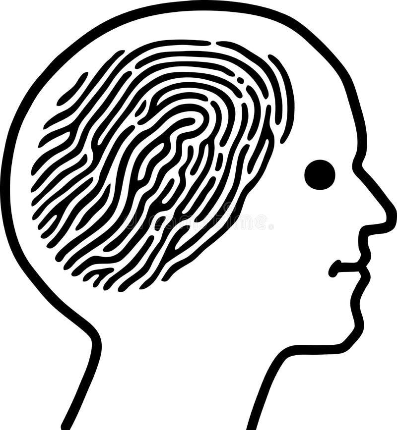 脑子指纹 皇族释放例证