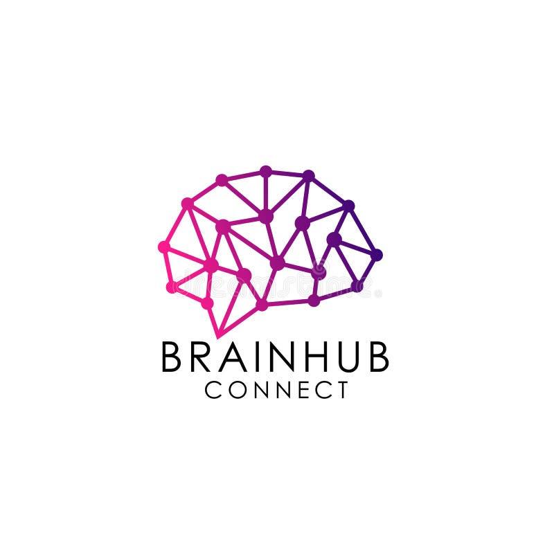 脑子插孔商标设计 脑子连接商标 技术脑子商标设计 库存例证