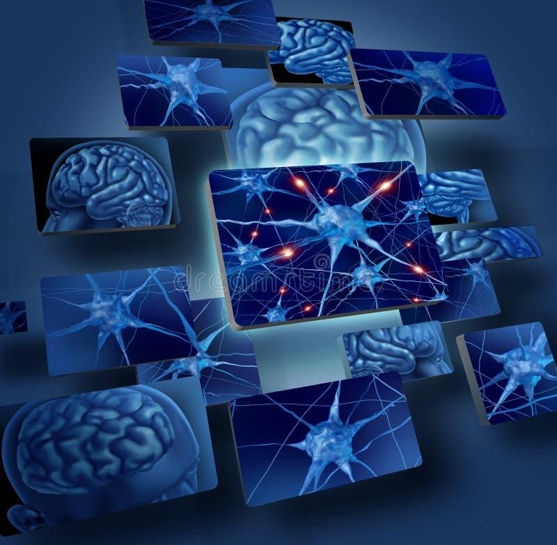 脑子概念神经元 皇族释放例证