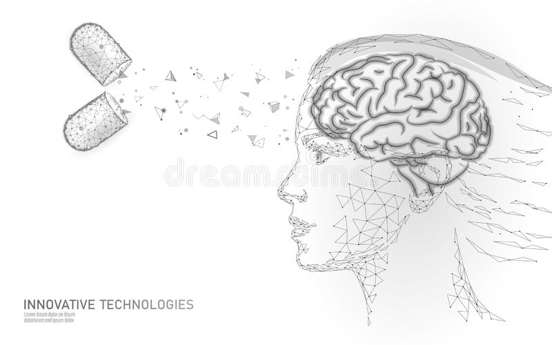 脑子治疗低多3D回报 药物nootropic人的能力兴奋剂聪明的精神健康 认知的医学 向量例证