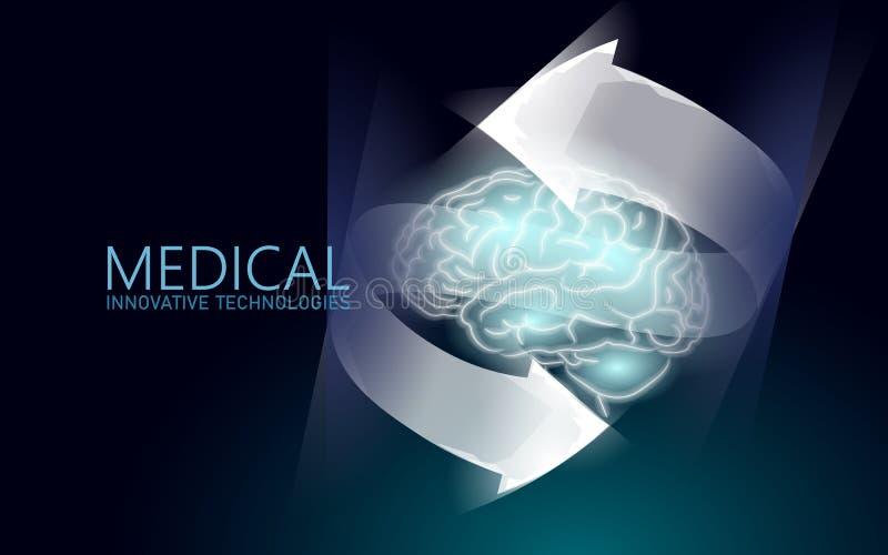 脑子治疗低多3D回报 药物nootropic人的能力兴奋剂聪明的精神健康 认知的医学 库存例证