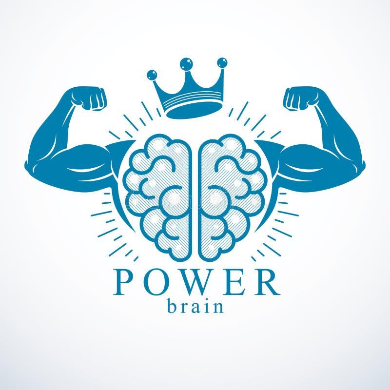 脑子用爱好健美者的强的二头肌手 力量脑子象征,天才概念 脑子训练,生长智商 向量例证