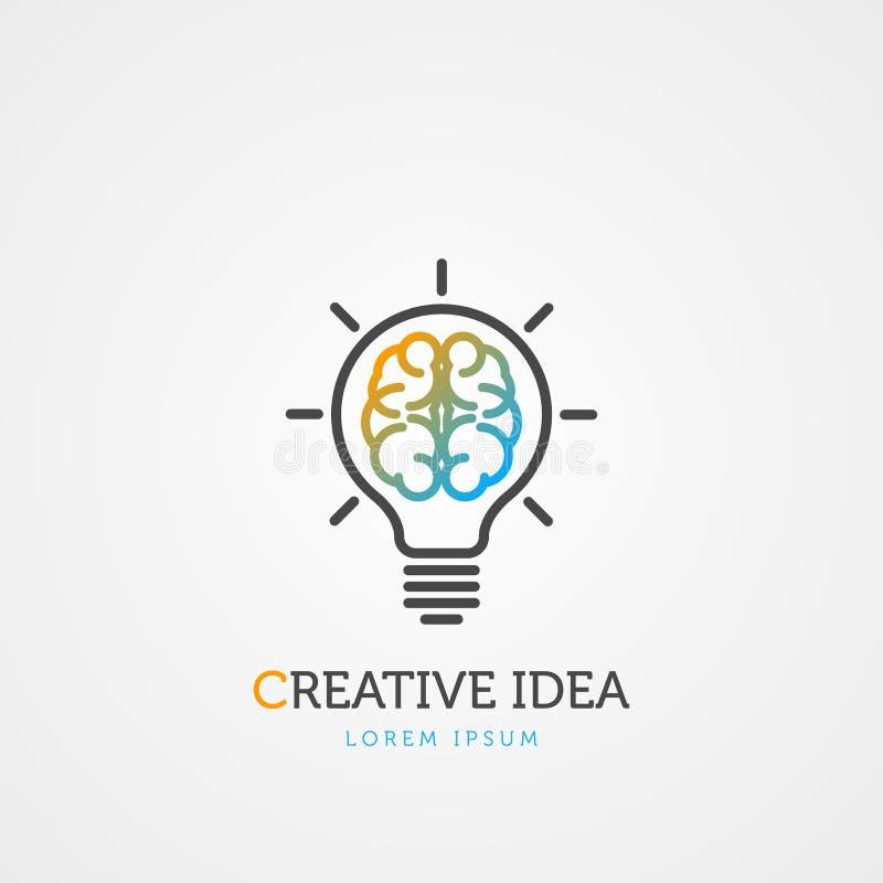 脑子电灯泡标志 创造性的想法 向量 皇族释放例证