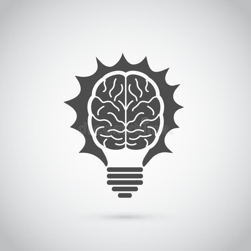 脑子电灯泡 免版税图库摄影