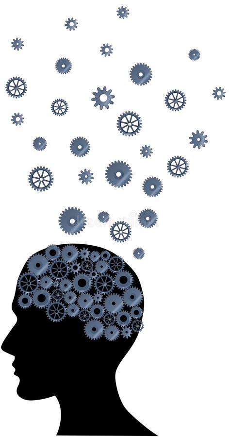 脑子的例证有许多想法 免版税库存照片