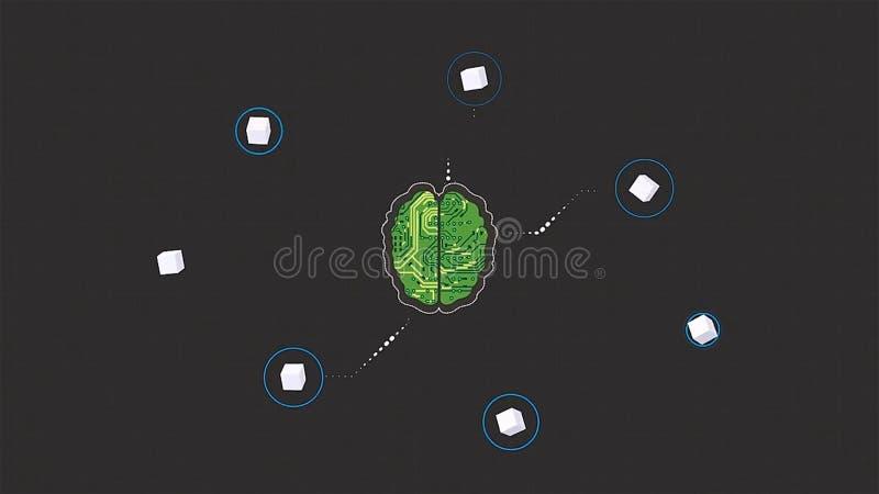 脑子的动画片动画作为接受在灰色背景的微集成电路信号波浪 脑子头连接数字线路 向量例证