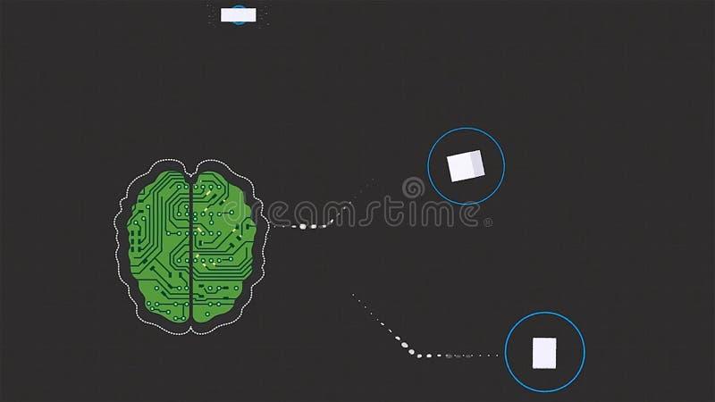 脑子的动画片动画作为接受在灰色背景的微集成电路信号波浪 脑子头连接数字线路 库存例证