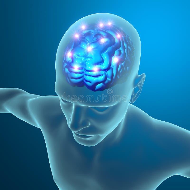 脑子神经元突触 皇族释放例证