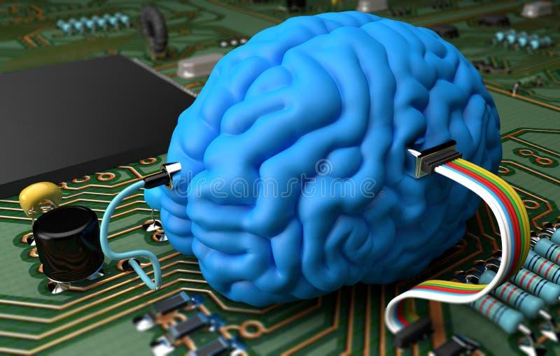 脑子芯片 库存例证