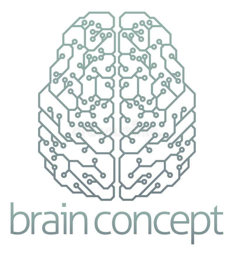 脑子计算机电路设计 皇族释放例证