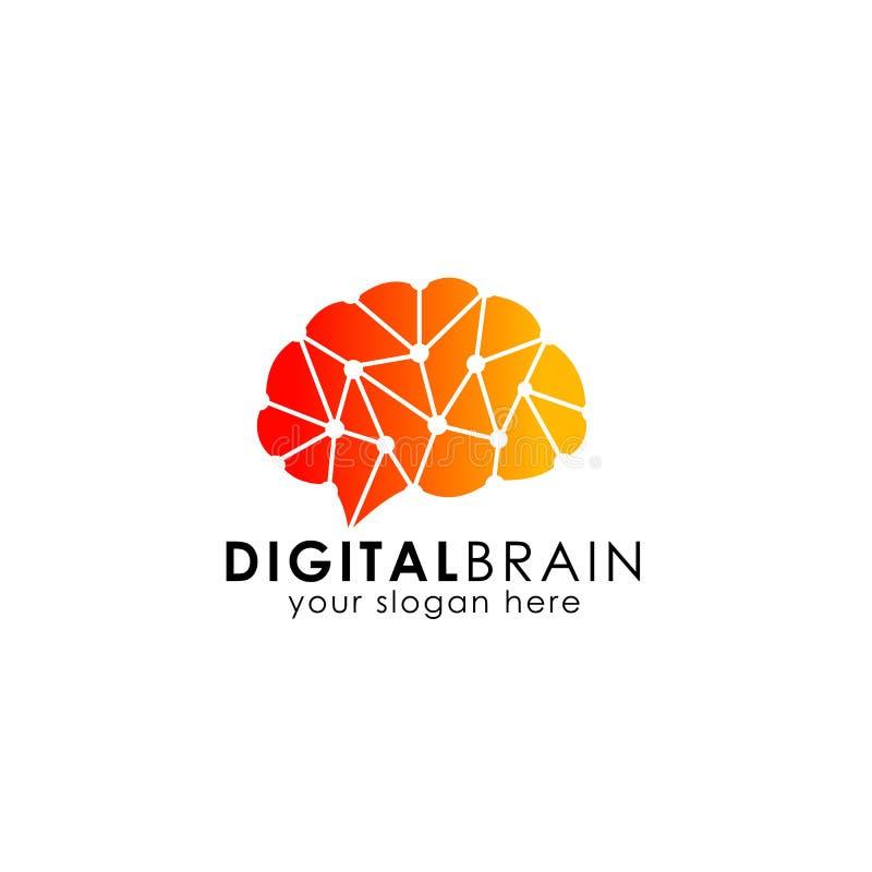 脑子连接商标传染媒介象 数字式脑子 脑子插孔商标设计 库存例证