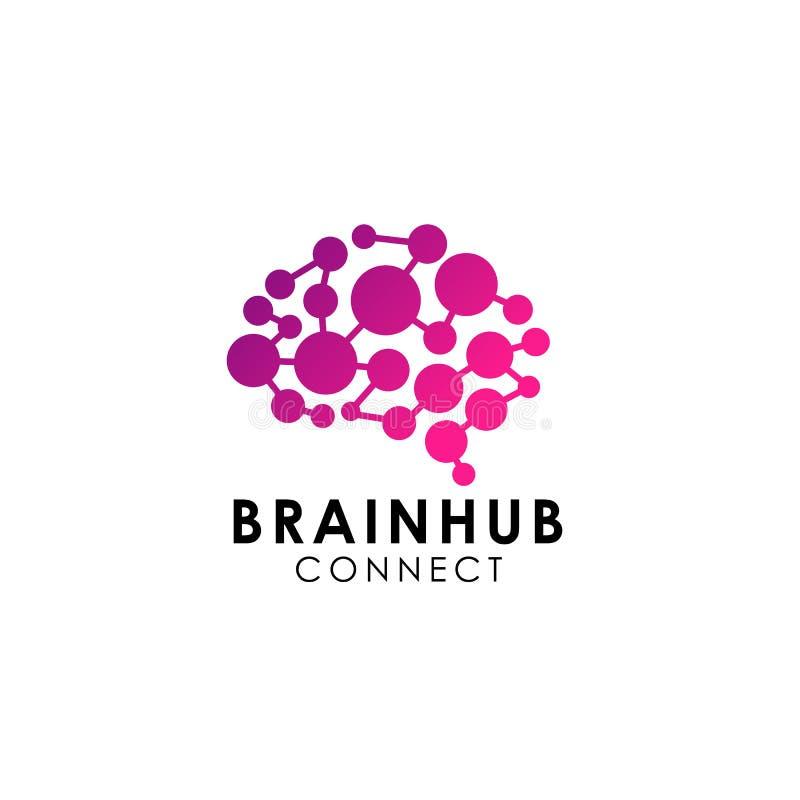 脑子连接商标传染媒介象 数字式脑子 脑子插孔商标 皇族释放例证