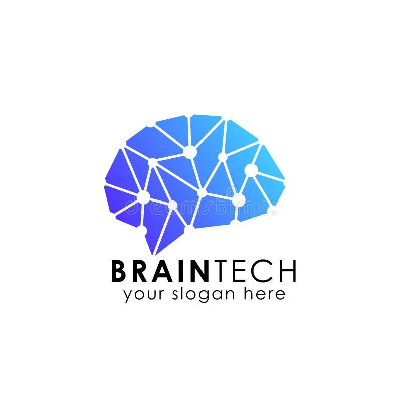 脑子连接商标传染媒介象 数字式脑子 脑子插孔商标 库存例证