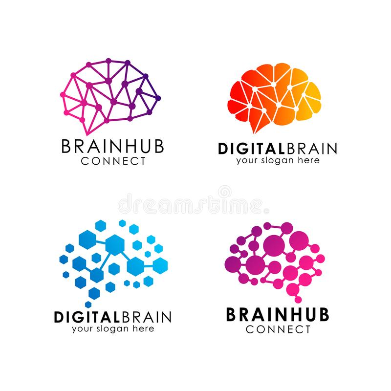 脑子连接商标设计 数字式脑子商标模板 向量例证