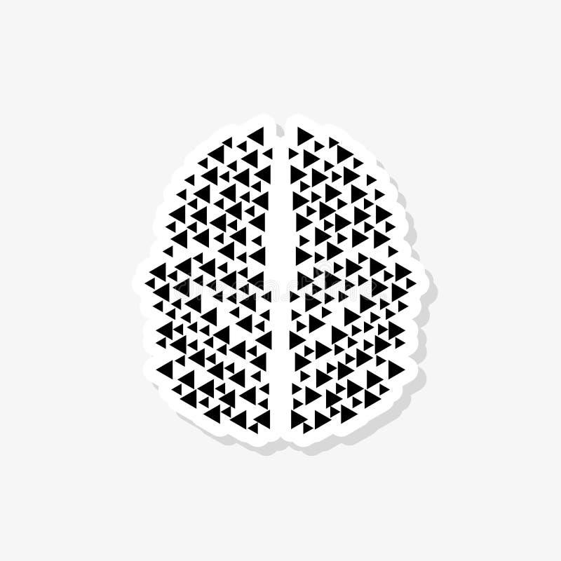 脑子连接商标象 数字脑子贴纸 向量例证