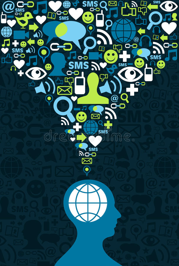 脑子通信媒体社会飞溅 向量例证
