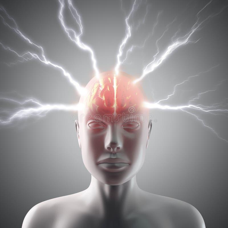 脑子闪电 皇族释放例证