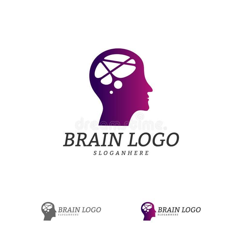 脑子顶头商标传染媒介模板 背景黑色完成的头行光亮人 人标志 头脑商标概念 库存例证