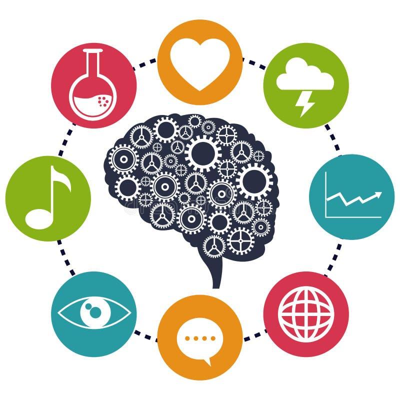 脑子齿轮分析社会媒介 皇族释放例证
