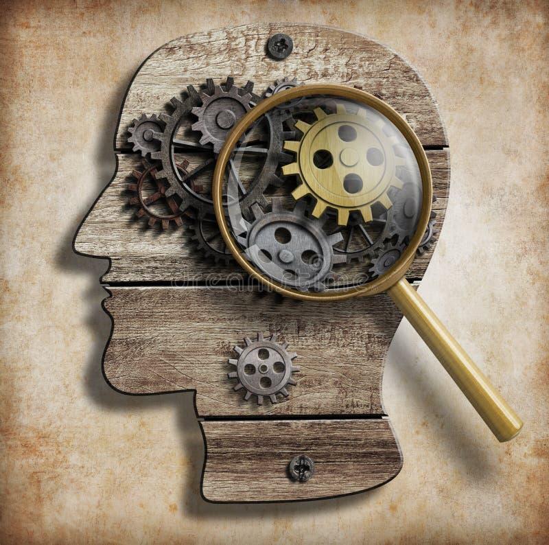 脑子齿轮和嵌齿轮 精神病,心理学 库存例证