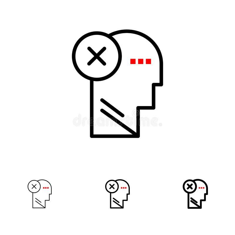 脑子,失败,头,人,标记,头脑,认为大胆和稀薄的黑线象集合 库存例证