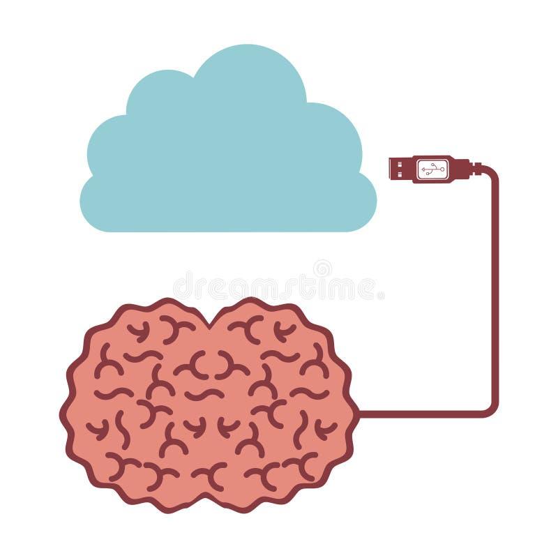 脑子主机数据象股票 库存例证