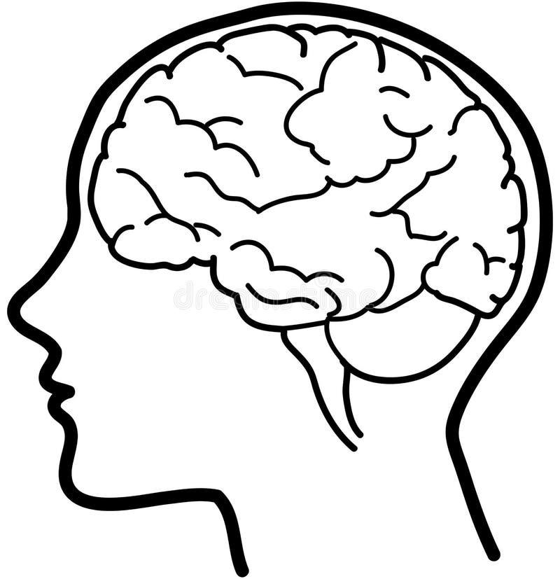 脑子bw图标向量 皇族释放例证