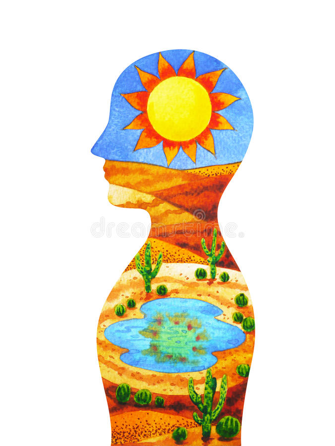 绿洲头脑标志、地点或者时间是愉快,抽象想法的水彩绘画 皇族释放例证