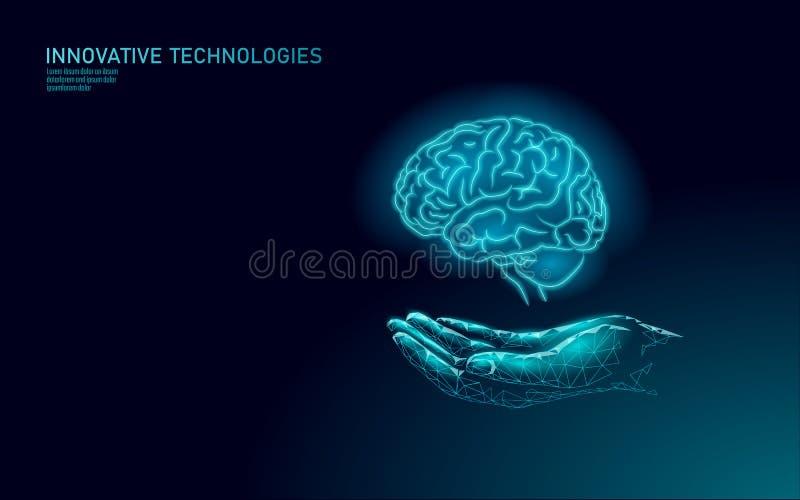 脑治疗低聚3D渲染 一种药物护理手药心理健康概念 阿尔茨海默症的认知康复 向量例证