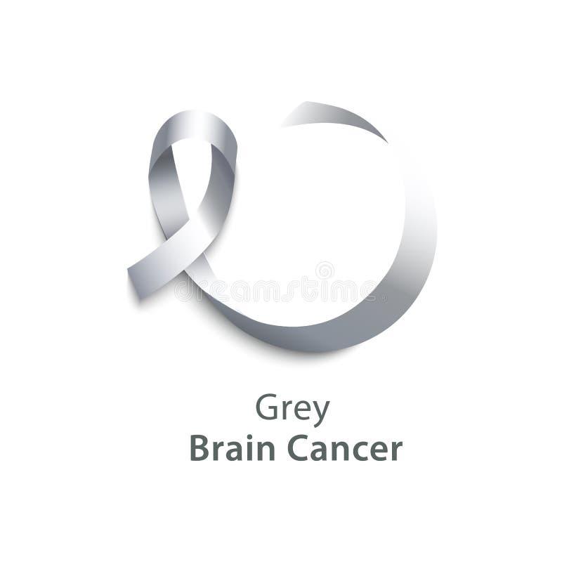 脑癌标志和标志现实3d灰色缎带象  向量例证